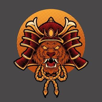 Tête de lion samouraï