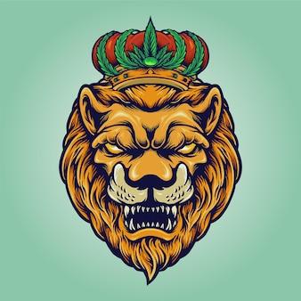 Tête de lion avec société de logo de couronne de cannabis