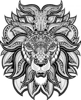 Tete de lion style zentangle blanc et noir