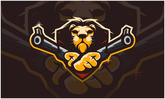 Tête de lion tenant deux armes à feu