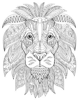 Tête de lion tournée vers l'avant avec une crinière poilue en bonne santé dessinant une ligne incolore avec un grand félin sauvage