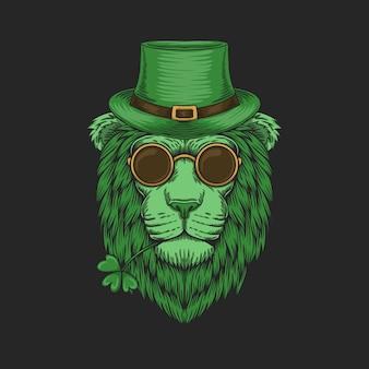 Tête de lion vert pour l'illustration de la saint-patrick