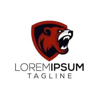 Tête logo vecteur d'ours en colère
