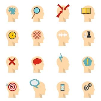 Tête logos icônes définies dans un style plat