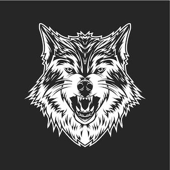 Tête de loup b & w