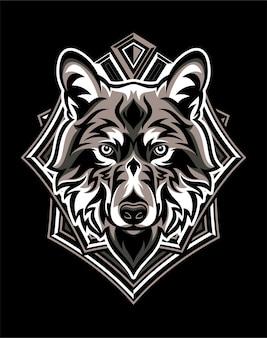 Tête de loup avec badge géométrique