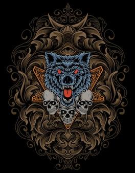 Tête de loup et de crâne en colère d'illustration avec l'ornement antique