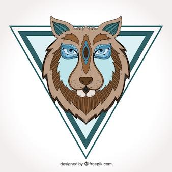 Tête de loup dessiné à la main avec un triangle
