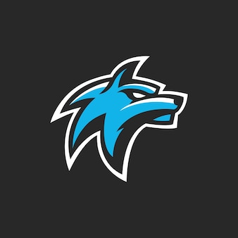 Tête de loup esport gaming logo vector