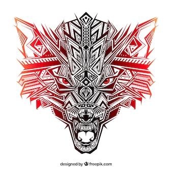 Tête de loup ethnique aux tons rougeâtres