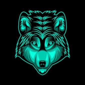 Tête de loup face illustration de conception vectorielle