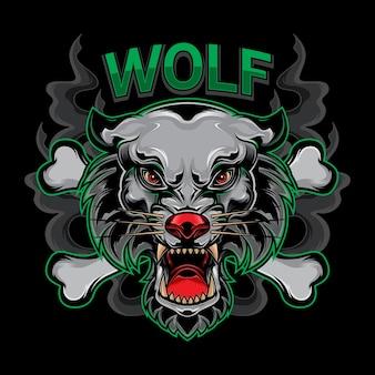 Tête de loup de la faune