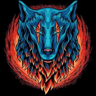 Tête de loup avec feu