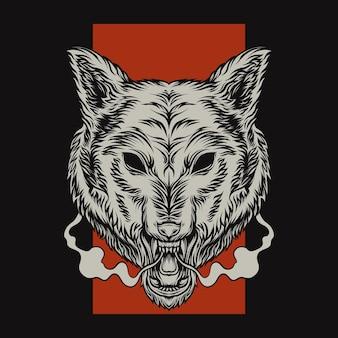 Tête de loup avec fond rouge
