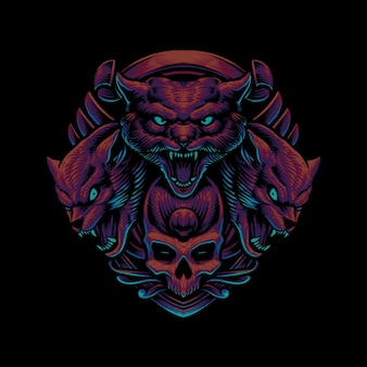 Tête de loup-garou avec illustration de crâne