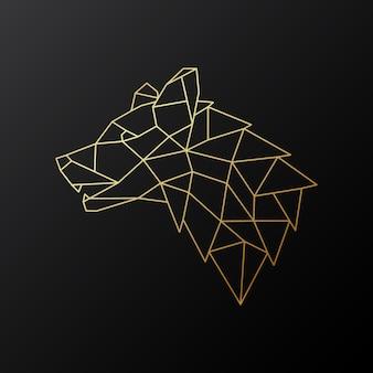 Tête de loup géométrique dorée.