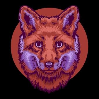 Tête de loup illustration colorée