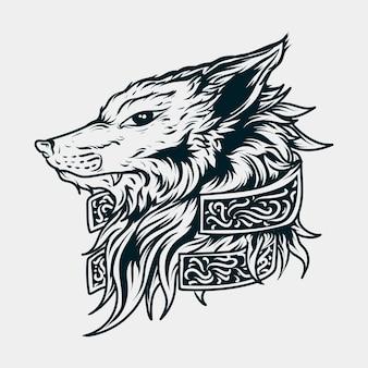 Tête de loup illustration dessinée à la main en noir et blanc