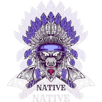 Tête de loup indigène indien