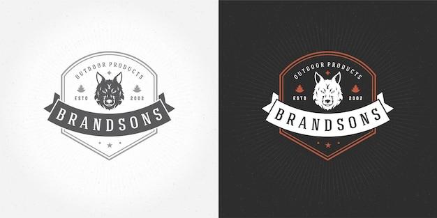 Tête de loup logo emblème silhouette d'illustration vectorielle pour chemise ou timbre imprimé. conception d'insigne ou d'étiquette de typographie vintage.