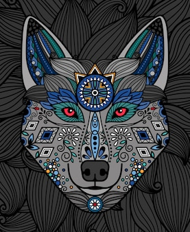 Tête de loup avec un motif coloré ornemental