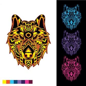 Tête de loup de motif décoratif avec lueur dans le noir