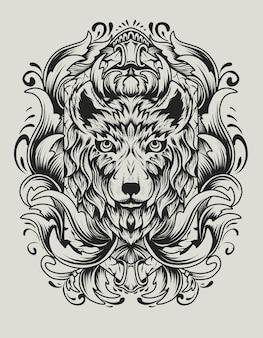 Tête de loup avec ornement de gravure antique