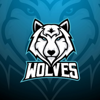 Tête de loup pour le logo de l'e-sport, mascotte de jeu