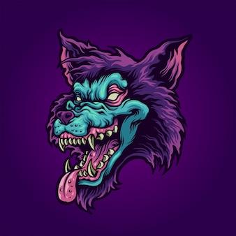 Tête de loup zombie