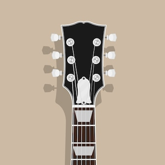 Tête de manche de guitare avec ombre, illustration de style, rock, concept de blues