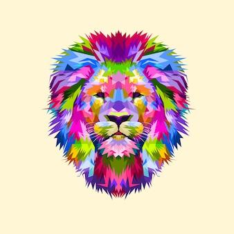 Tête de mascotte colorée lion