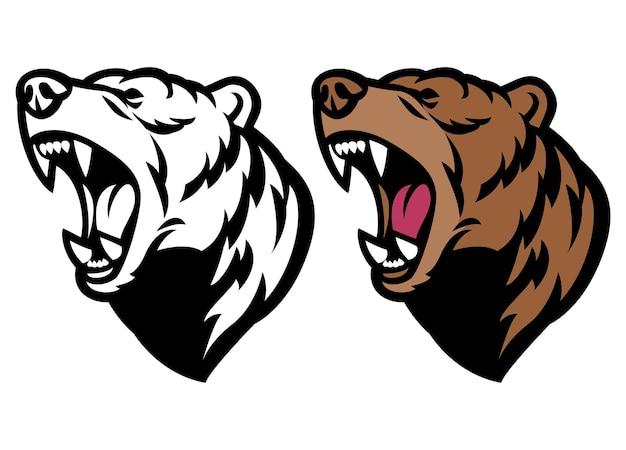 Tête de mascotte d'ours grizzli en colère rugissante