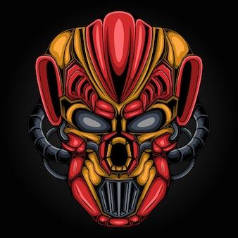 Tête de mecha robot monstre art extraterrestre illustration