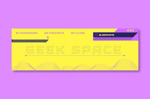 En-tête de médias sociaux de jeu futuriste créatif geek