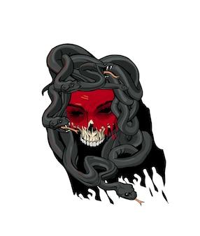 Tête de méduse avec visage déchiré et serpents