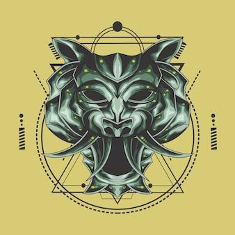 Tête de métal tigre géométrie sacrée