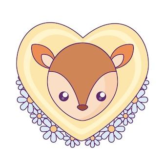 Tête de mignon petit renne au coeur