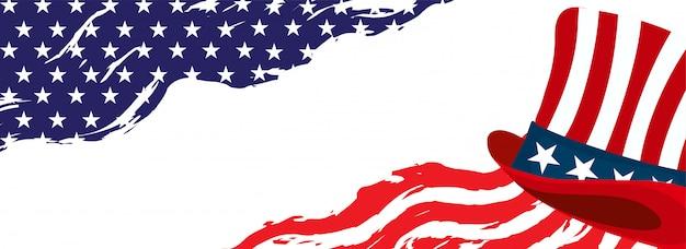 En-tête de modèle de drapeau américain