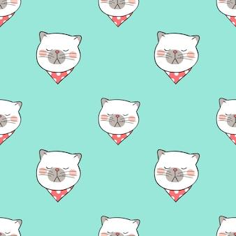 Tête de modèle sans couture de chat sur pastel vert