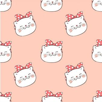 Tête de modèle sans couture de chat sur pastel.