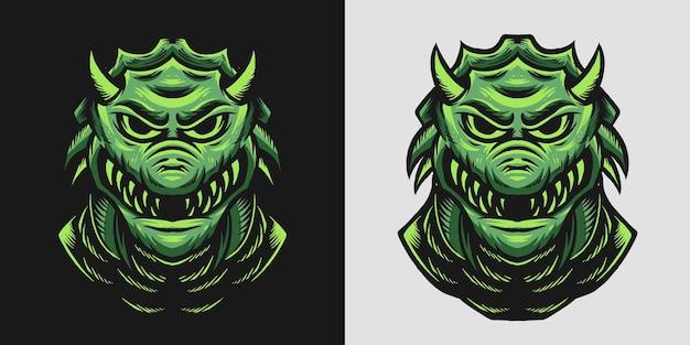 Tête de monstre de reptile avec un visage effrayant et une illustration dangereuse