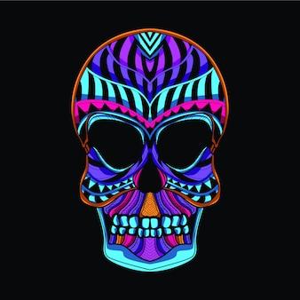 Tête de mort en couleur néon
