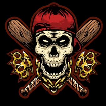 Tête de mort gangsta avec phalanges et bâtons de baseball mascotte design logo
