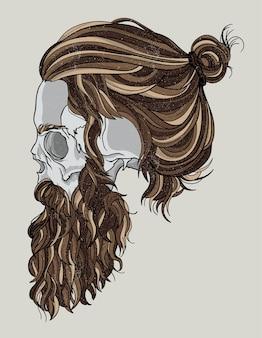 Tête de mort de hipster movember