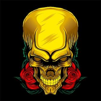 Tête de mort en or rose