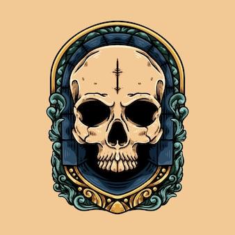 Tête de mort avec ornement baroque