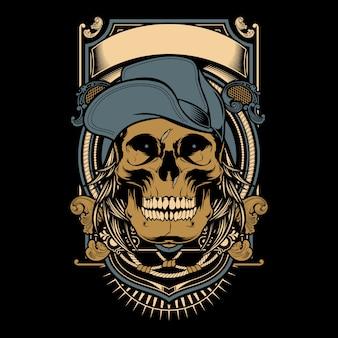 Tête de mort os avec chapeau
