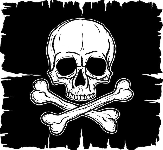 Tête de mort et os croisés sur drapeau noir