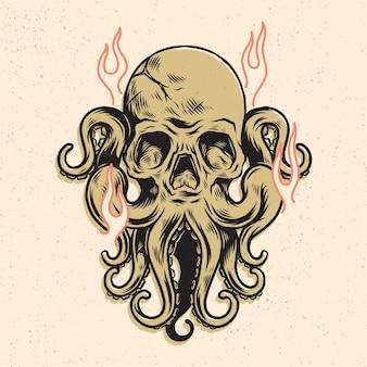 Tête de mort avec pieuvre pour la conception de tshirt ou la marchandise