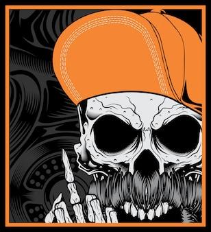 Tête de mort portant un chapeau